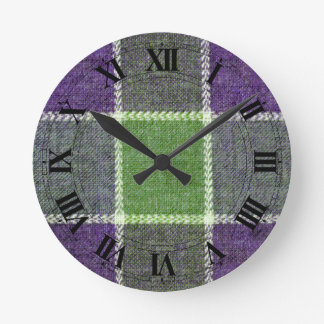 Green and Purple Plaid Wool Look with Numbers Wallclock