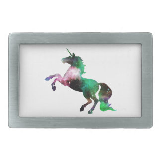 Green and Purple Space Galaxy Unicorn Belt Buckle