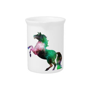 Green and Purple Space Galaxy Unicorn Pitcher