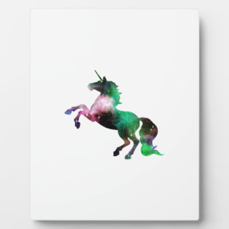 Green and Purple Space Galaxy Unicorn Plaque