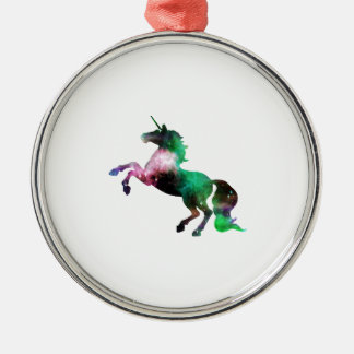 Green and Purple Space Galaxy Unicorn Silver-Colored Round Decoration