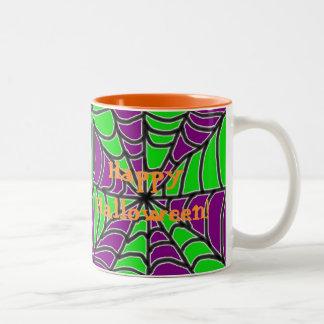 Green and Purple Spider Web Coffee Mug