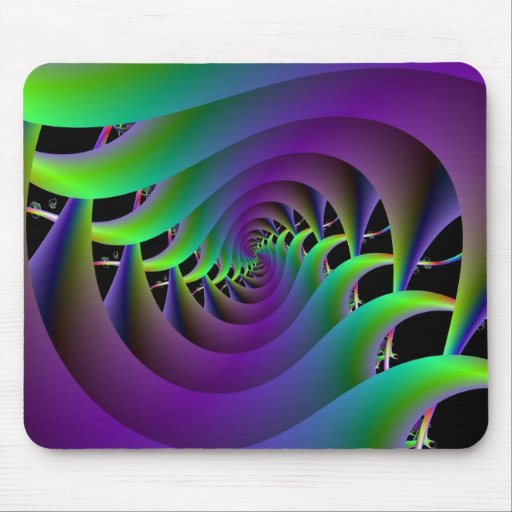 Green and Purple Spiral Mousepad