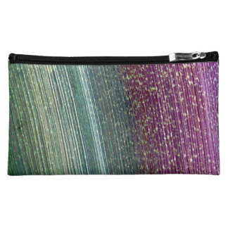 Green and Purple Striped Medium Zippered Pouch