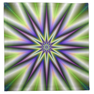 Green and Purple Time Star Napkins