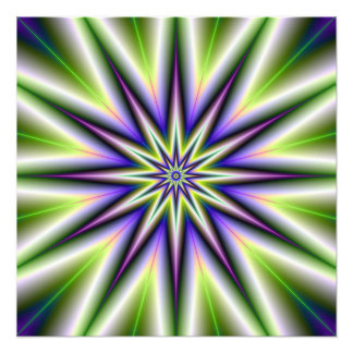 Green and Purple Time Star Photo Print