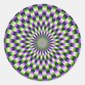 Green and Purple Weave Round Sticker