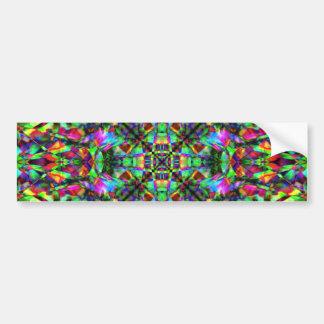 Green and Rainbow Mandala Pattern Bumper Sticker