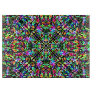 Green and Rainbow Mandala Pattern Cutting Board