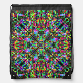 Green and Rainbow Mandala Pattern Drawstring Bag