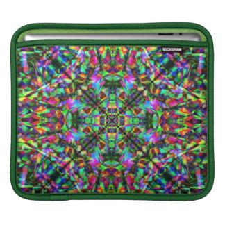 Green and Rainbow Mandala Pattern iPad Sleeve