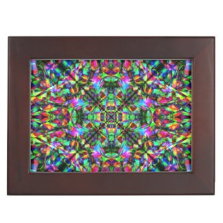 Green and Rainbow Mandala Pattern Keepsake Box