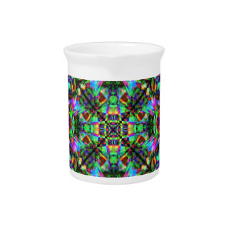 Green and Rainbow Mandala Pattern Pitcher