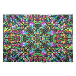 Green and Rainbow Mandala Pattern Placemat