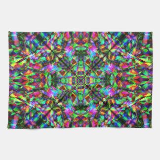 Green and Rainbow Mandala Pattern Tea Towel