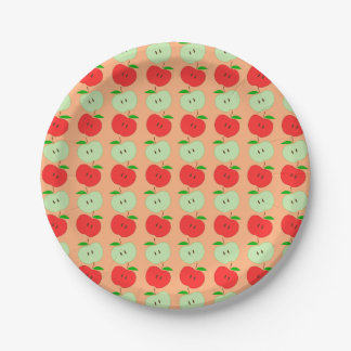 Green and Red Apples Pattern 7 Inch Paper Plate