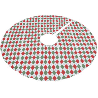 Green and Red Argyle Brushed Polyester Tree Skirt