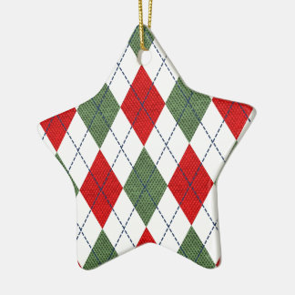 Green and Red Argyle Christmas Ornament