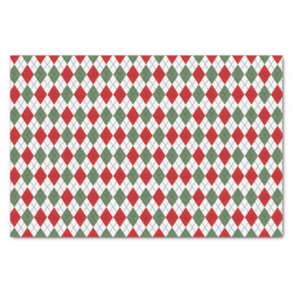 Green and Red Argyle Tissue Paper
