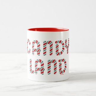 Green and Red Candy Land Logo Two-Tone Coffee Mug