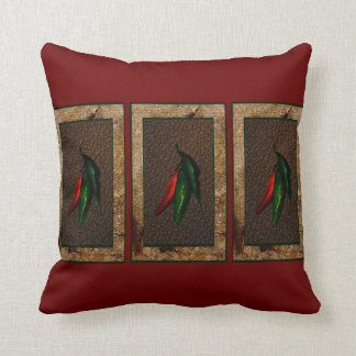 Green and Red Chili Peppers Throw Pillow