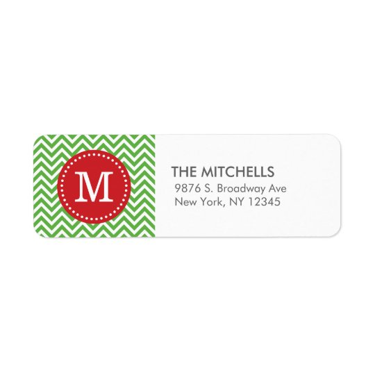 Green and Red Christmas Chevron Custom Monogram Return Address Label