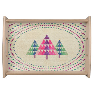 Green and Red Christmas Trees with polka dots Service Tray