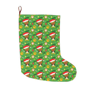Green and Red Christmas Yorkie Large Christmas Stocking