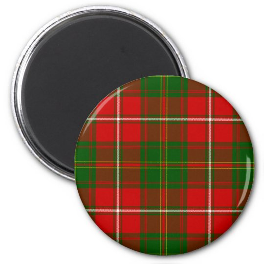 Green and Red Clan Hay Tartan 6 Cm Round Magnet