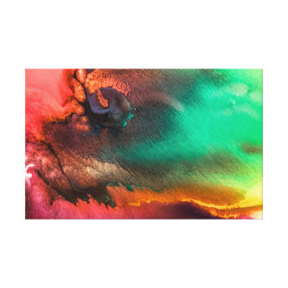 Green and Red colorful liquid abstract painting Canvas Print
