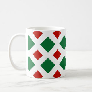 Green and Red Diamonds on White Coffee Mugs