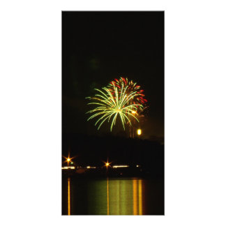 Green and red fireworks explode over the river custom photo card