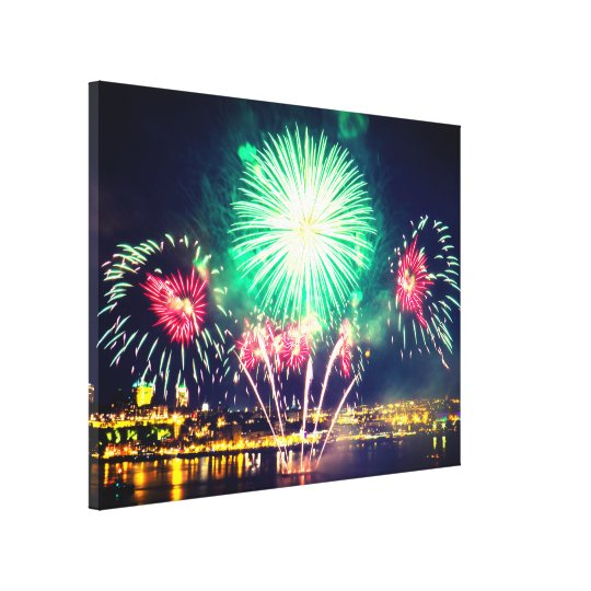 Green and Red Fireworks | Quebec City Canvas Print
