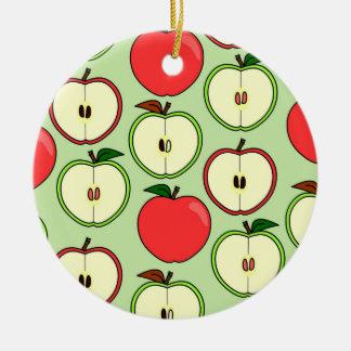 Green and Red Half Apple Print Round Ceramic Decoration