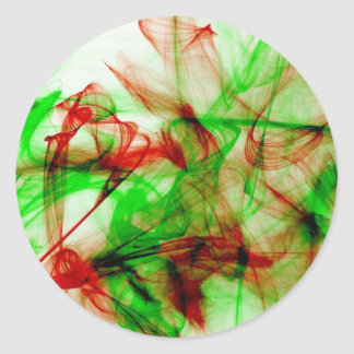 Green and red ink abstract design round sticker