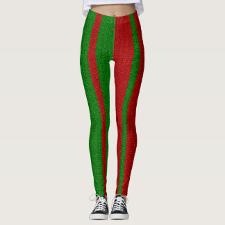 Green and Red Knitting Leggings
