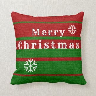 Green and Red Knitting Merry Christmas Holiday Cushion