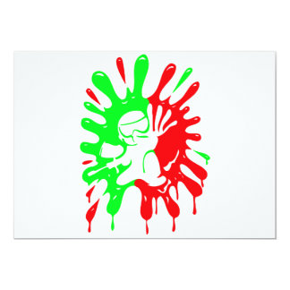 Green and Red Paintball Splatter and Mascot Images 13 Cm X 18 Cm Invitation Card