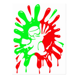 Green and Red Paintball Splatter and Mascot Postcard