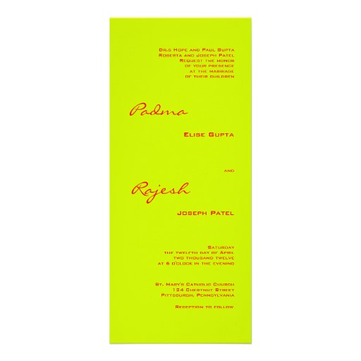 Green and Red Paisley Indian Wedding Custom Announcement