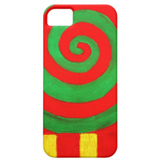 Green and Red Pastel Spiral (naive pattern) iPhone 5 Case