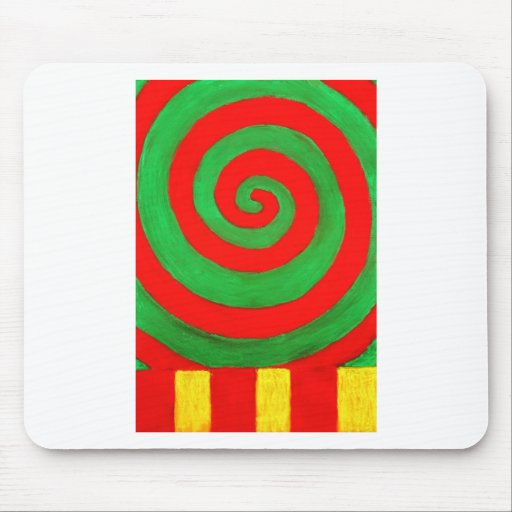 Green and Red Pastel Spiral (naive pattern) Mousepad