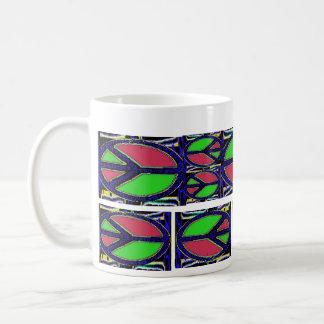 Green and Red Peace Sign Mosaic Basic White Mug