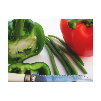 Green and Red Peppers with Beans Canvas Gallery Wrapped Canvas