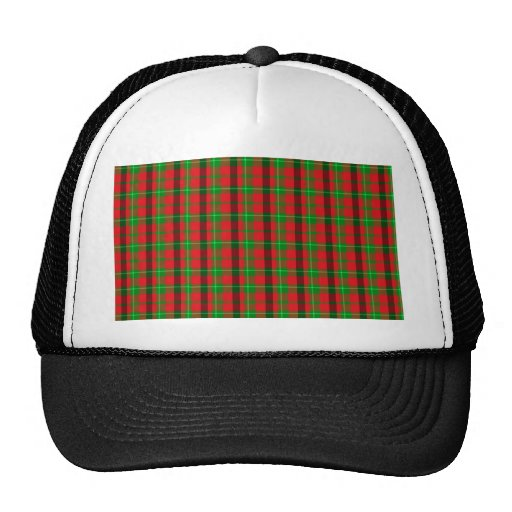 Green And Red Plaid Fabric Background Hat