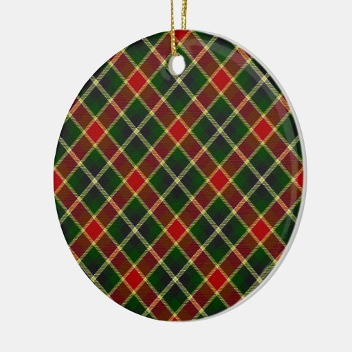 Green and Red Plaid Round Christmas Tree Ornament