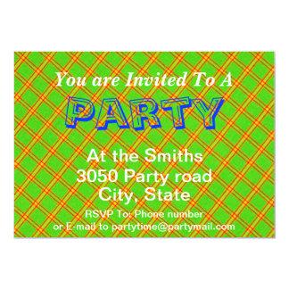 Green and Red Plaid Stripe Fabric Design 13 Cm X 18 Cm Invitation Card