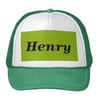 Green and Red Plaid Stripe Fabric Design Cap