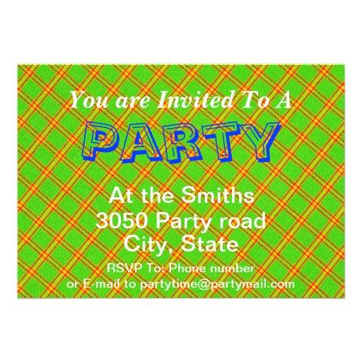 Green and Red Plaid Stripe Fabric Design Personalized Invite