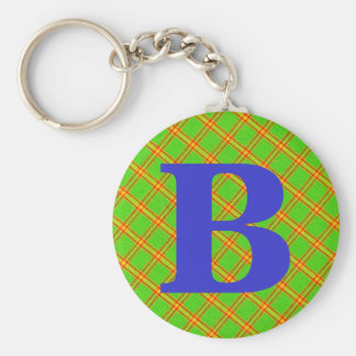 Green and Red Plaid Stripe Fabric Design Key Chain